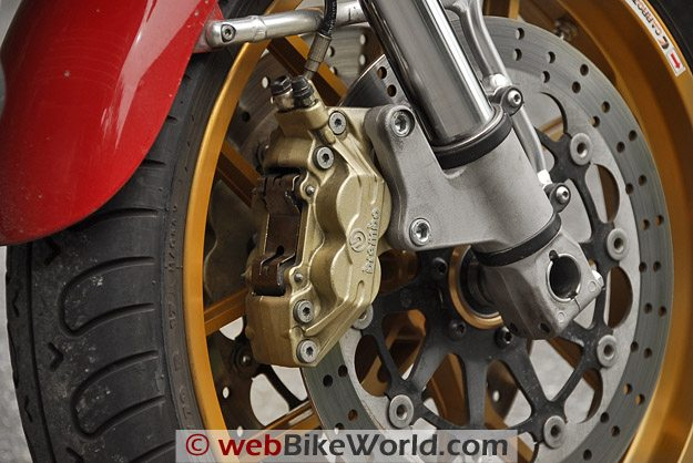 Close-up of Brembo 6800 series caliper