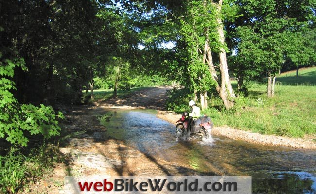 Crossing a Stream on the Trans-America Trail