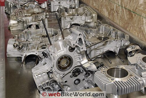 Ducati engine cases and parts out of the parts washer.