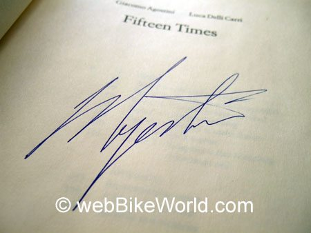 Autograph of Giacomo Agostini on a copy of Fifteen Times, his autobiography.