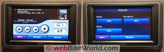 Garmin zumo 660 MP3 screen and volume.
