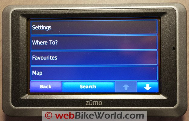 Garmin zumo 660 Settings