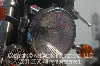 Ducati GT1000 headlight after installation of Scotchcal headlight protection film