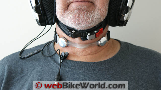 Iasus GP3X2 Throat Mic Kit Connected to Helmet
