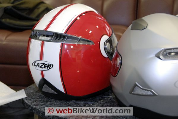 Lazer Helmets, rear view, with the Kite on the right.