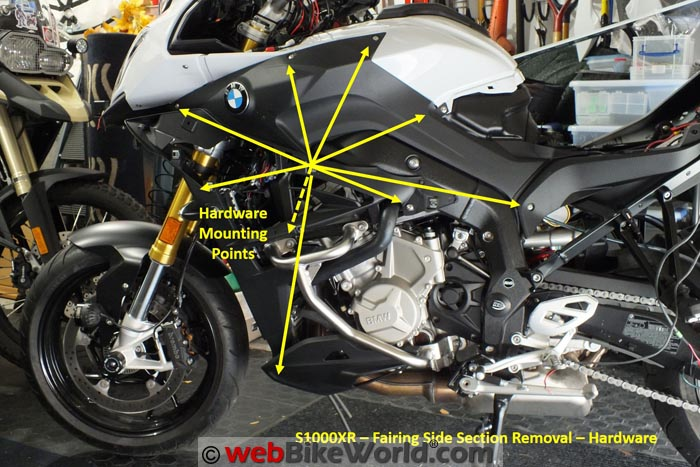 BMW S1000XR Left Side Fairing Removal