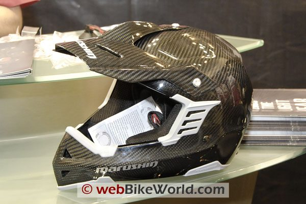 This Marushin carbon fiber motocross helmet is said to weigh 850 grams and feels like it!