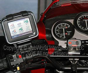 TomTom Rider mounted on mirror