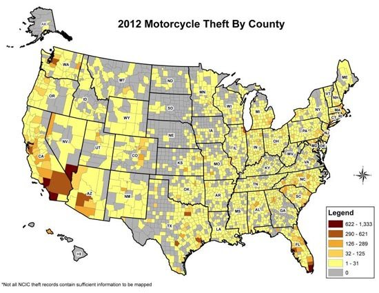 Motorcycle Theft by County