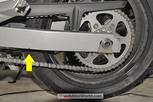 Ducati Multistrada Chain Adjustment - Half-way Point of Swingarm