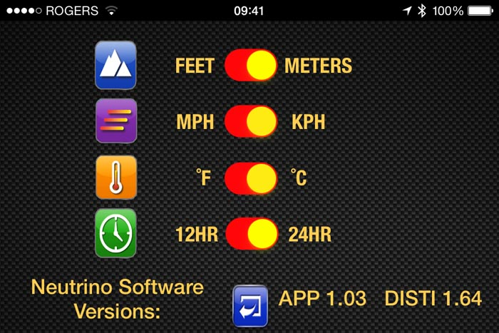 Neutrino Smartphone App Settings Screen for Feet Meters