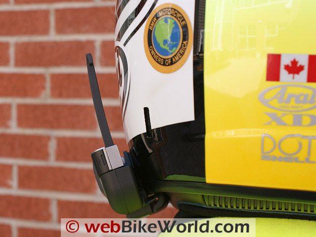 Cardo Scala Rider G4 Intercom - Rear view, mounted on Arai XD3 helmet