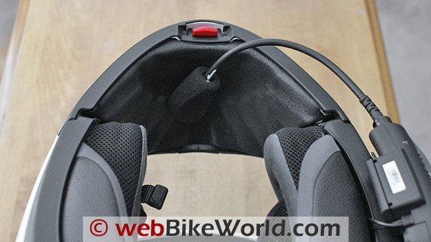 Cardo Scala Rider G4 Intercom - Boom microphone mounted on Nolan N-103 helmet
