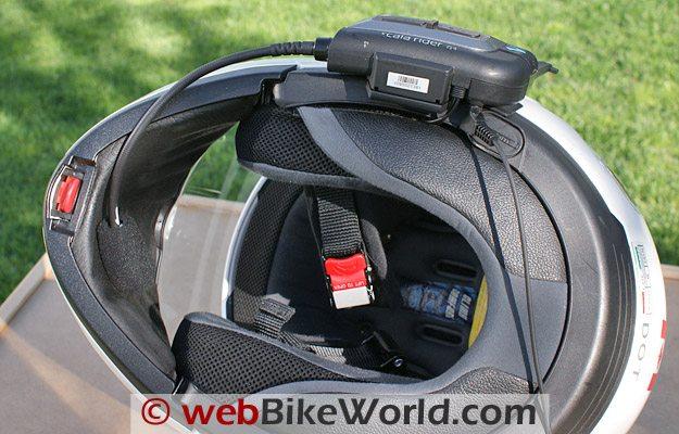 Cardo Scala Rider G4 Intercom - Bottom view, Nolan N-103 helmet.
