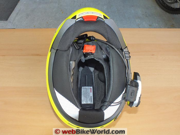 Sena 20S Intercom on Helmet Bottom View