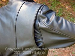 Articulated shoulder on the Fox Creek Leather 3/4 Length Women's Leather Motorcycle Jacket.