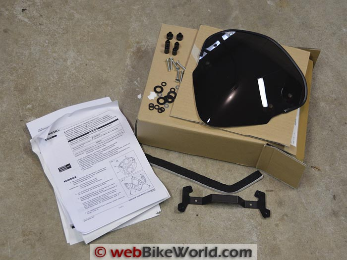 Suzuki GW250 Windscreen Kit Contents