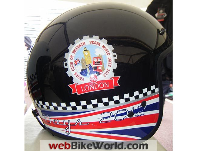 Vespa World Days Sticker on Helmet