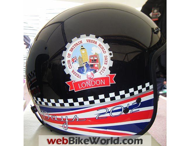 Vespa World Days Sticker on Helmet