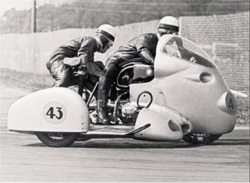 Vintage BMW Motorcycle Photo - Sidecar Racing