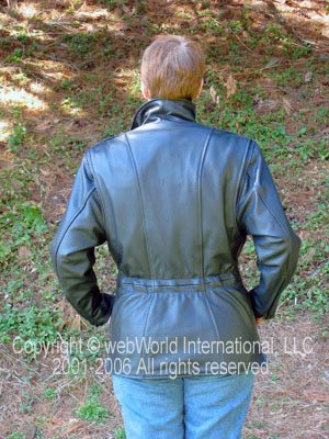 Women's Leather Motorcycle jacket, 3/4 length jacket by Fox Creek Leather, rear view.