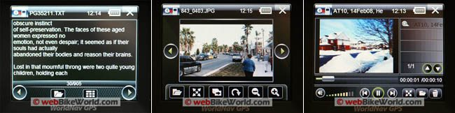 WorldNav 3500 GPS E-book reader, video player and photo viewer.