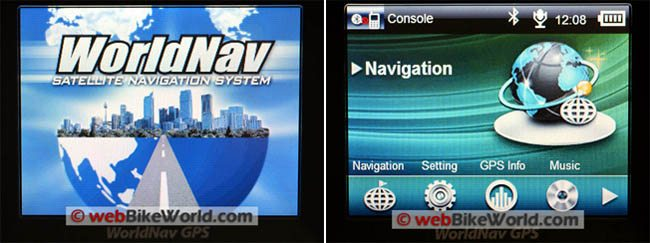 WorldNav 3500 Initial Splash Screen and Applications Screen
