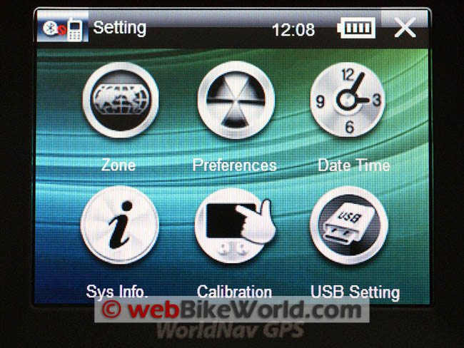WorldNav 3500 Main Menu Screen