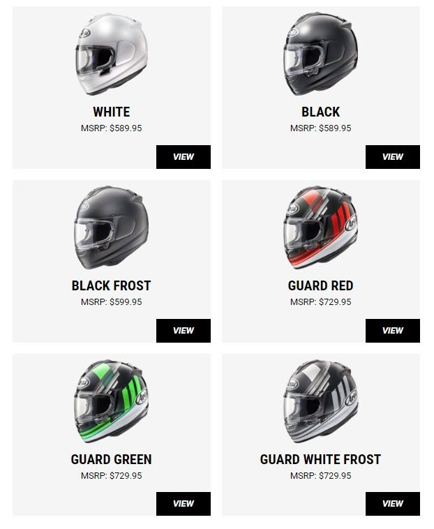 Arai Helmet Color Guide