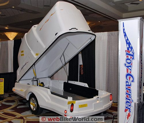 Covered Motorcycle Trailer - Rear View