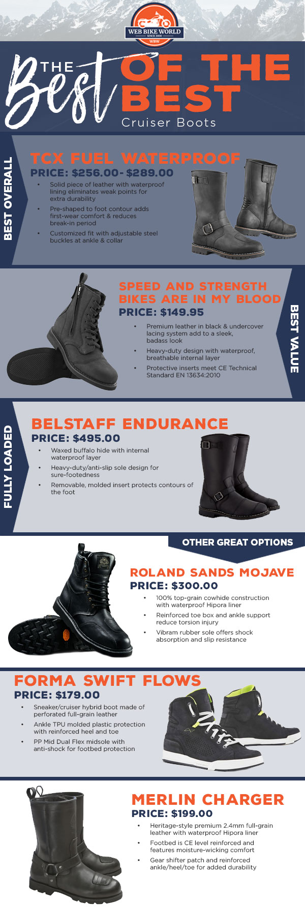 The Best Cruiser Boots Infographic 2019
