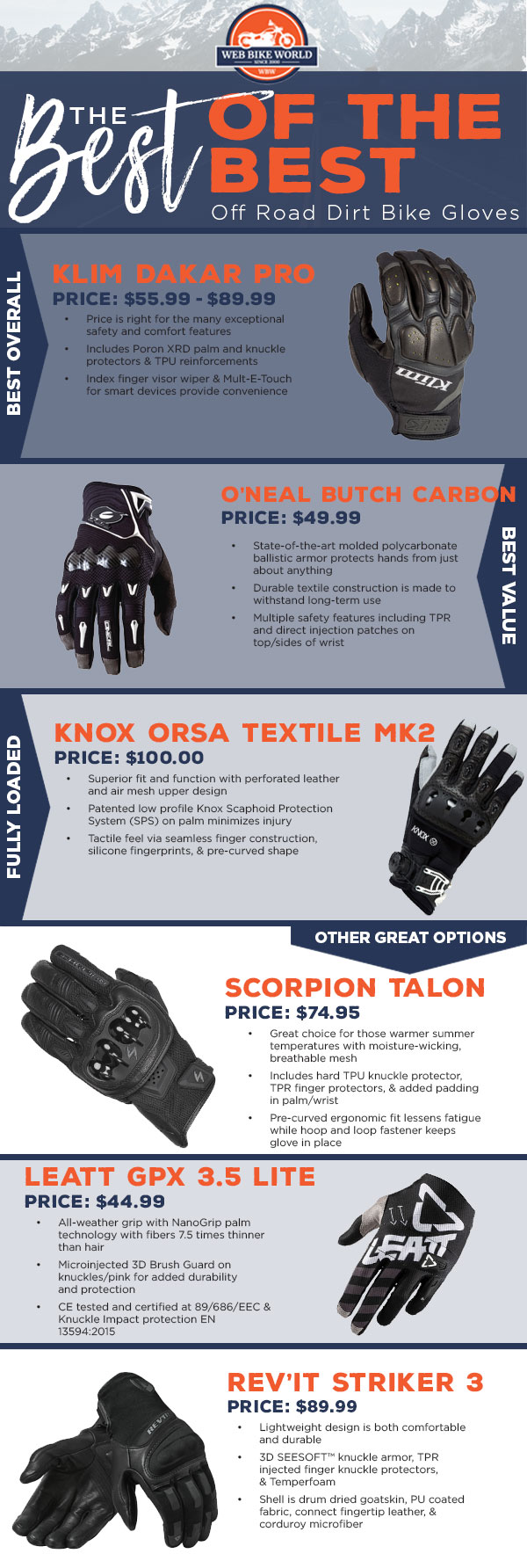 The Best Off-Road/Dirt Bike Gloves Infographic 2019