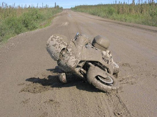 Motorcycle Slipped in Mud on Dempster Highway
