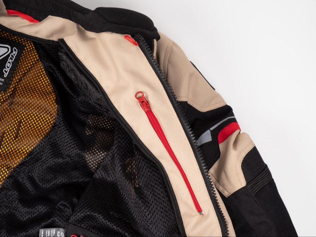 Pilot Motosport Elipsol Air Jacket Closeup of Inner Chest Pocket Red Zipper