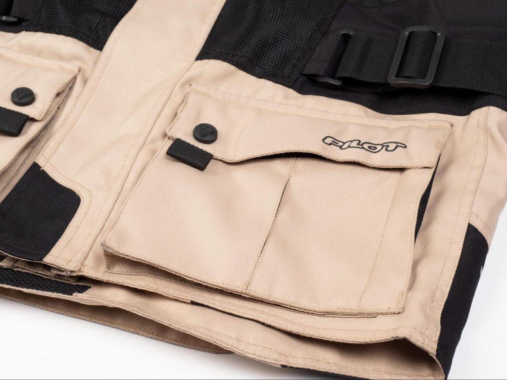 Pilot Motosport Elipsol Air Jacket Closeup of Bottom Left Jacket Pocket