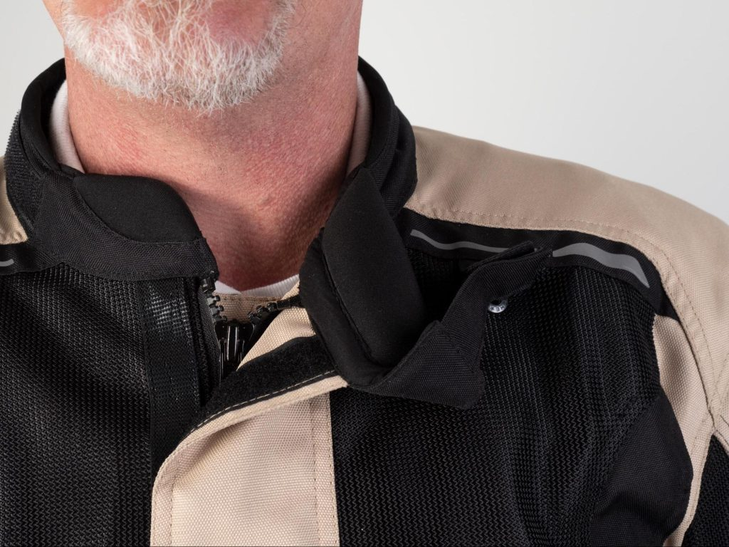Pilot Motosport Elipsol Air Jacket Closeup of Model Neck and Collar to show fit