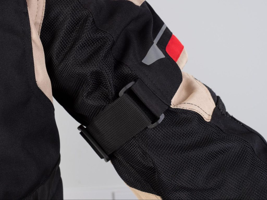 Pilot Motosport Elipsol Air Jacket Closeup of Strap Adjustment on Upper Arm of Jacket