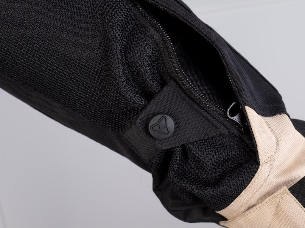 Pilot Motosport Elipsol Air Jacket Closeup of Arm Zippered Stealth Pocket