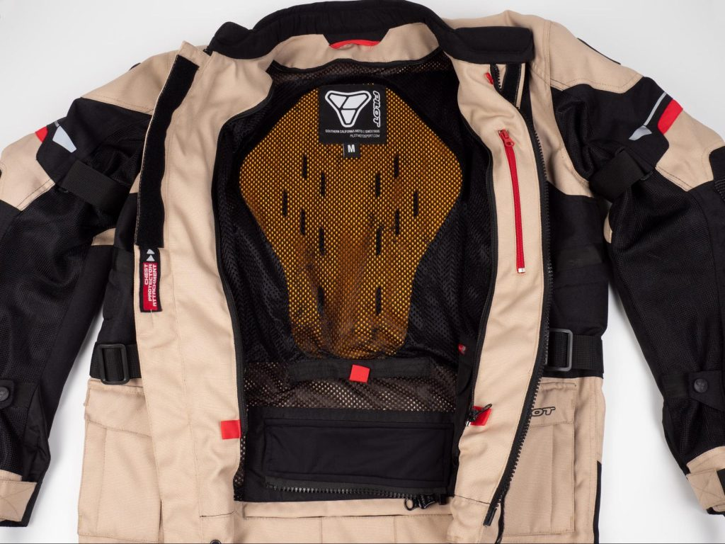 Pilot Motosport Elipsol Air Unzipped Open Jacket to Show Interior Liner and Back Protector