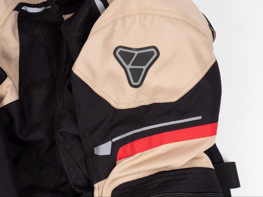 Pilot Motosport Elipsol Air Closeup of Jacket Shoulder and Pilot Logo