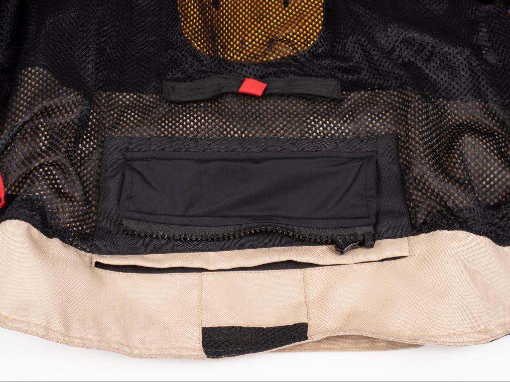 Pilot Motosport Elipsol Air Closeup of Bottom Interior Stealth Pocket