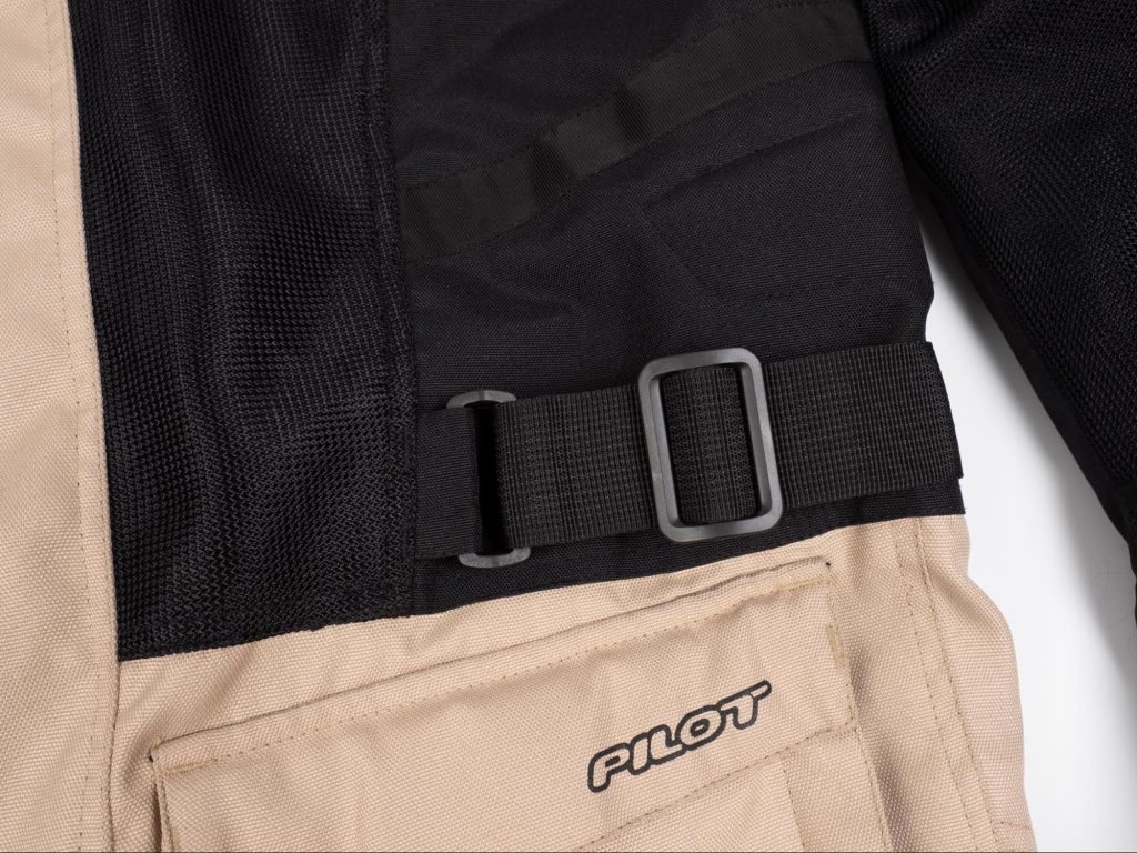 Pilot Motosport Elipsol Air Jacket Side Jacket Closeup of Waist Strap Adjuster