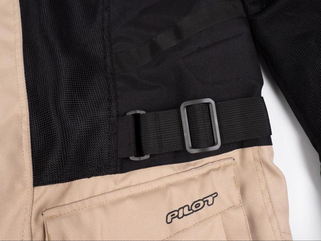 Pilot Motosport Elipsol Air Jacket Side Jacket Closeup of Waist Strap Adjuster