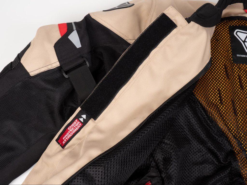 Pilot Motosport Elipsol Air Jacket Closeup of Velcro Chest Protector Attachment Inside Jacket