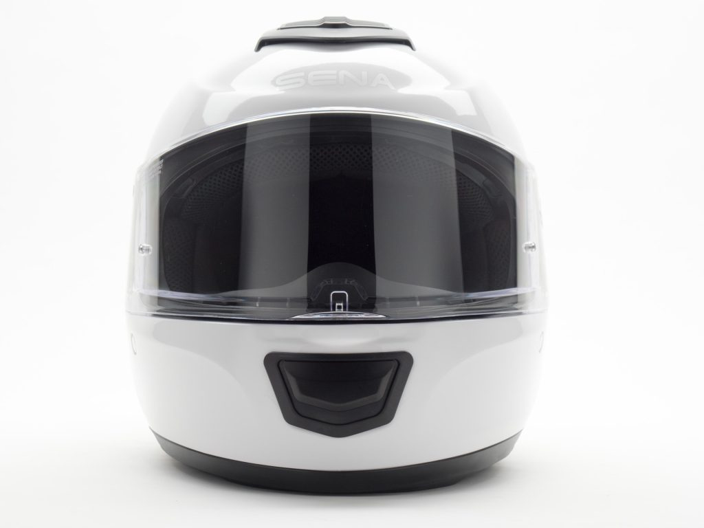 Sena Momentum Helmet Full Front Side View, Faceshield Down.