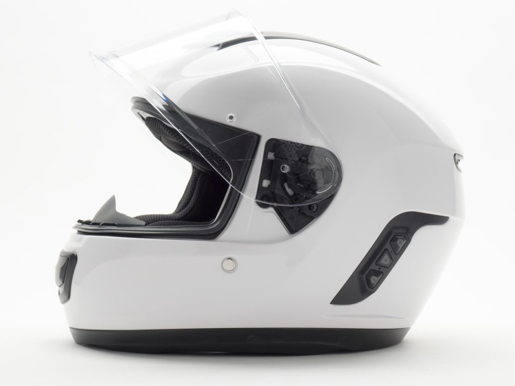 Sena Momentum Helmet Left Side View of Helmet with Face Shield Visor Up Position