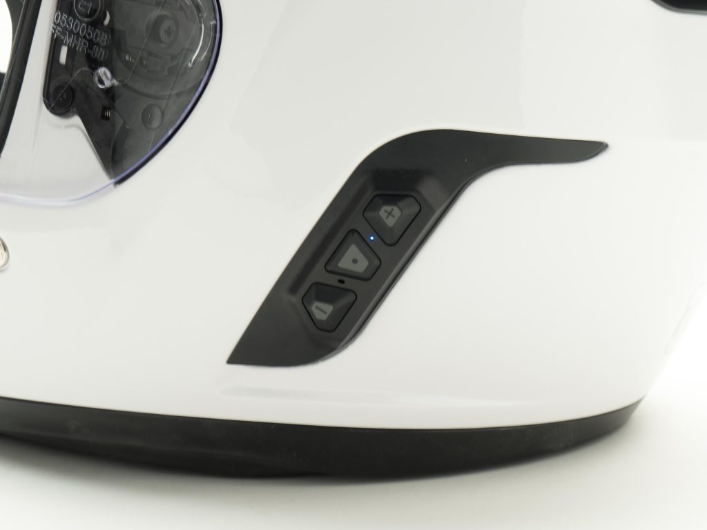 Sena Momentum Helmet Closeup of Bluetooth Buttons