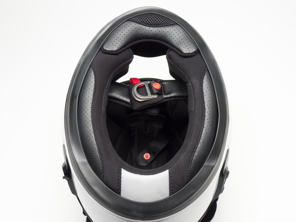 Sena Momentum Helmet Underside View of Full Helmet with Clasps and Padding Arrangement Shown Clearly