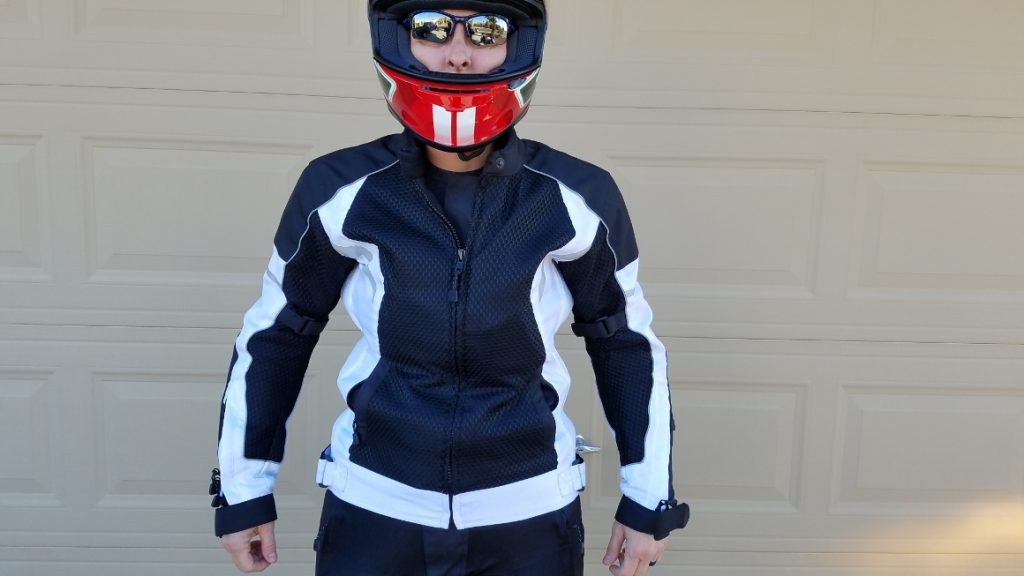 Motonation Metralla Ladies Vented Textile Jacket As Shown On Model Full Fitted View with Helmet On