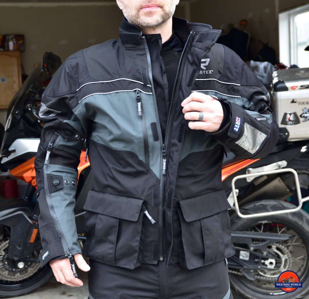 Rukka ROR Jacket Full Jacket Half-Unzipped to showcase Zippers